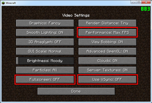 Minecraft game recording software - more FPS, less Lag
